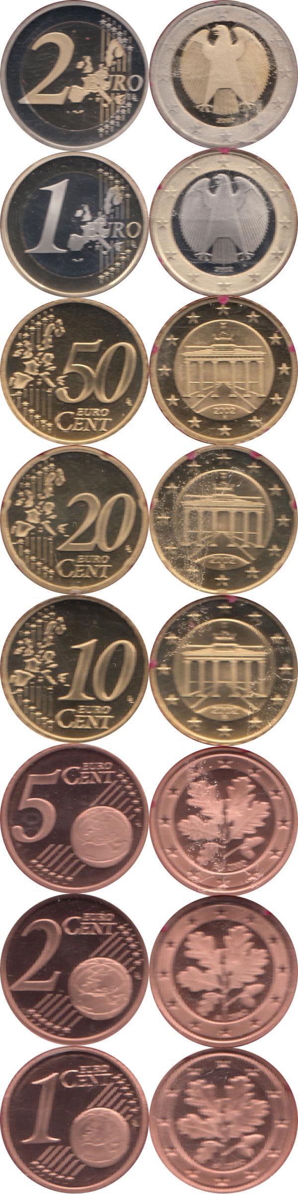 Каталог монет - Германия Евронабор 2002, Чеканка Берлин
