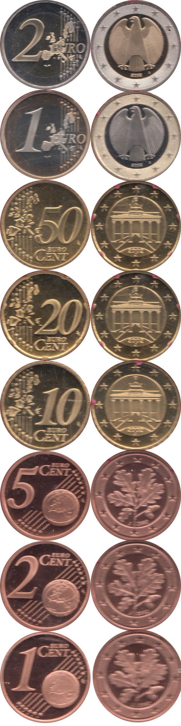 Каталог монет - Германия Евронабор 2002, Чеканка Гамбурга