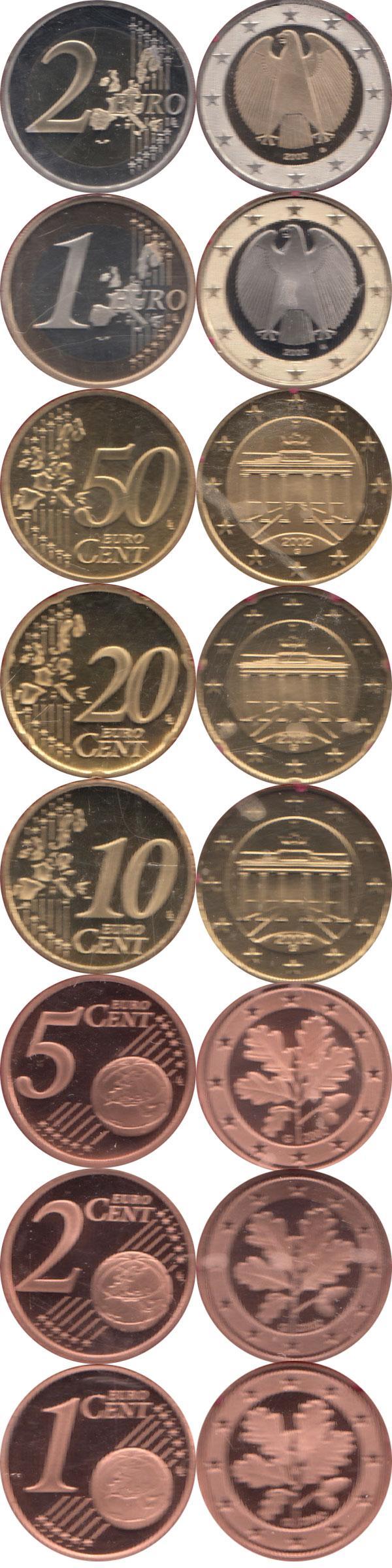 Каталог монет - Германия Евронабор 2002, Чеканка Карлсруэ