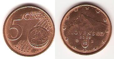 Каталог монет - Словакия 5 евроцентов