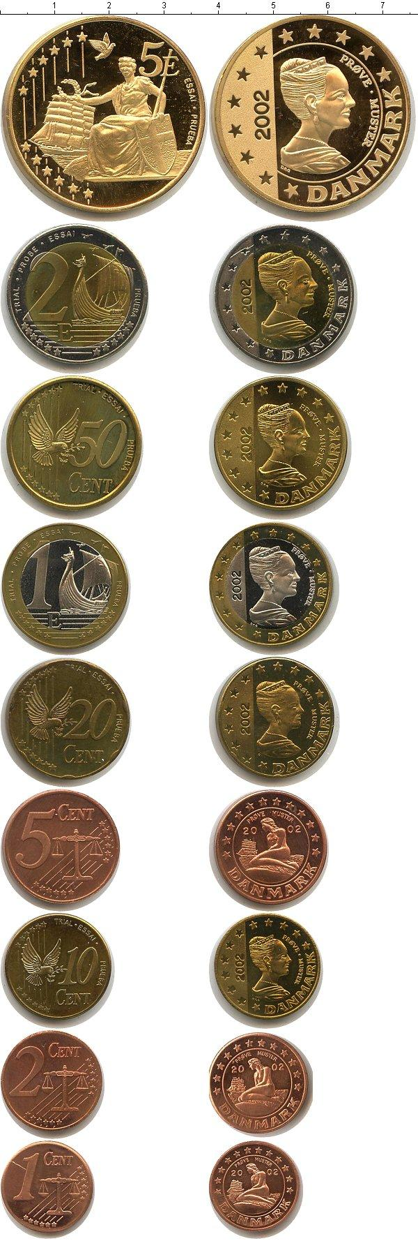 Каталог монет - Дания Пробный евронабор 2002