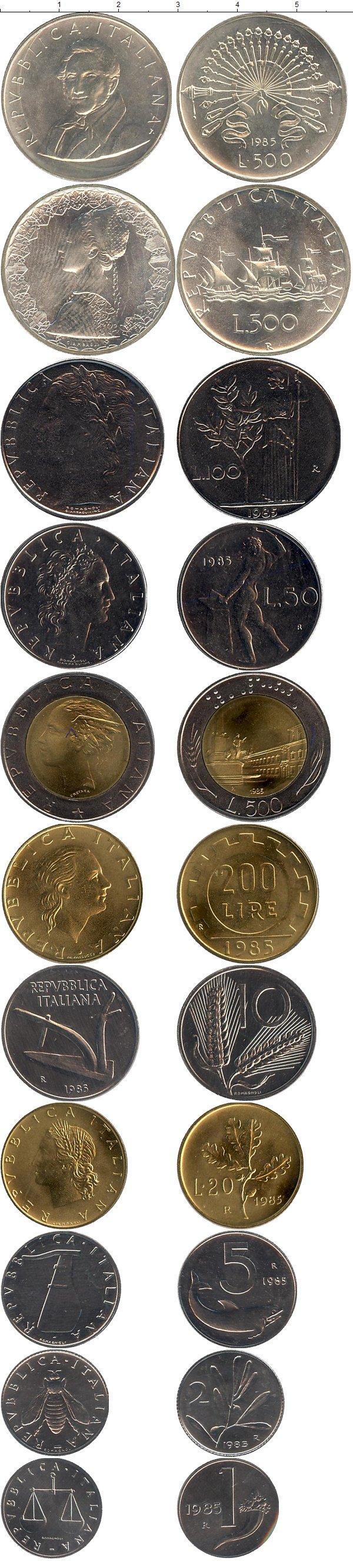 Каталог монет - Италия Выпуск монет 1985 года