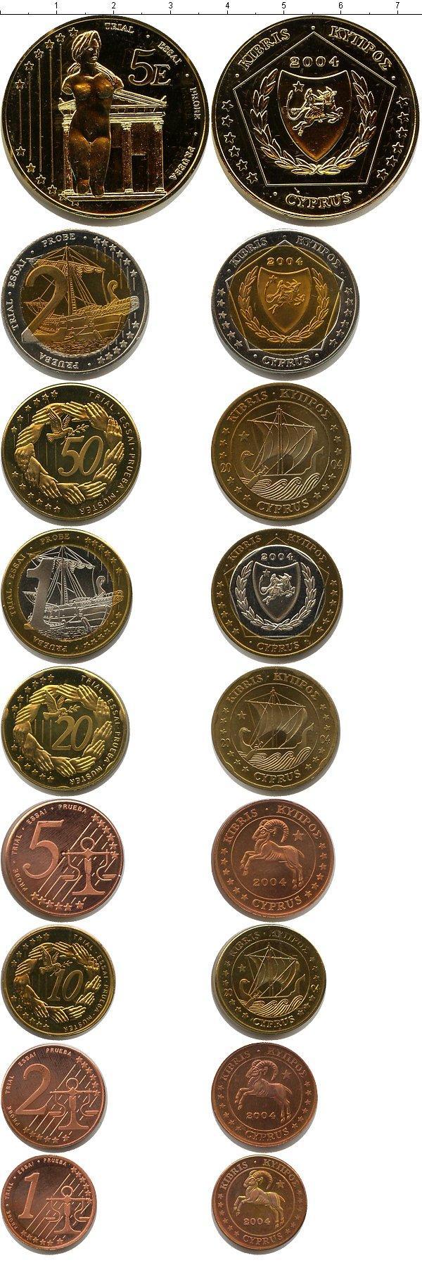 Каталог монет - Кипр Пробный евронабор 2004