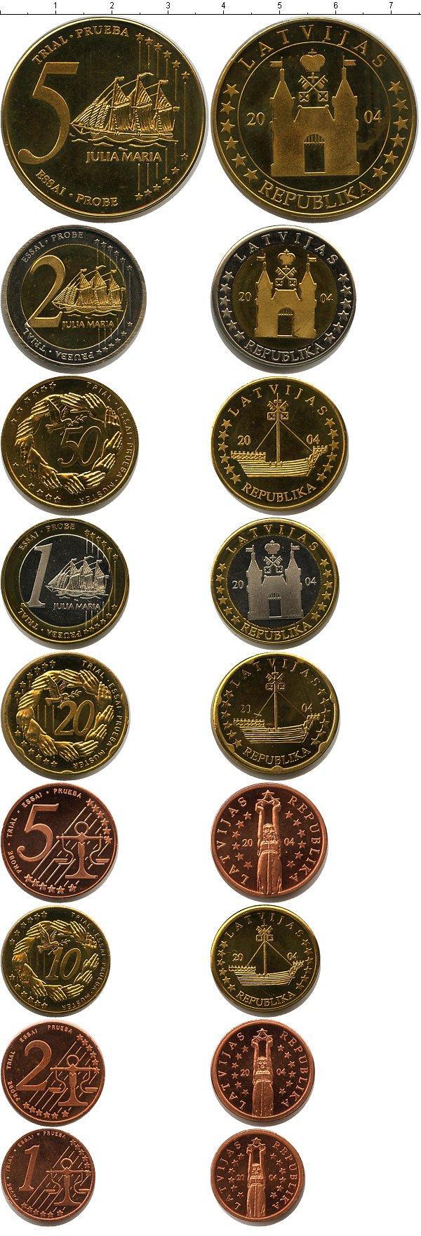 Каталог монет - Латвия Пробный евронабор 2004