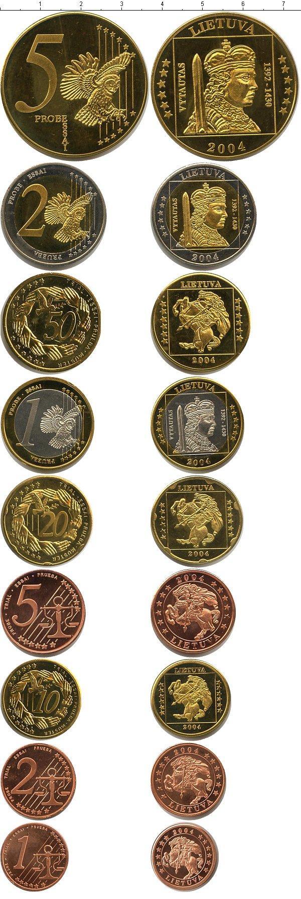 Каталог монет - Литва Пробный евронабор 2004