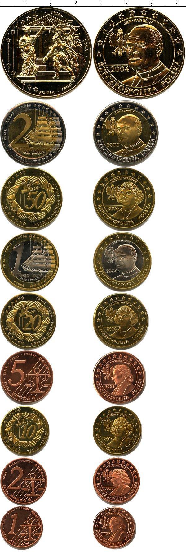 Каталог монет - Польша Пробный евронабор 2004