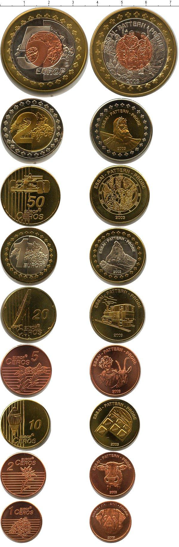 Каталог монет - Швейцария Пробный евронабор 2003