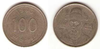 Каталог монет - Южная Корея 100 вон
