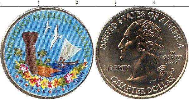 В каталоге монет сша 25 центов медно-никель 2009 цветные, об.