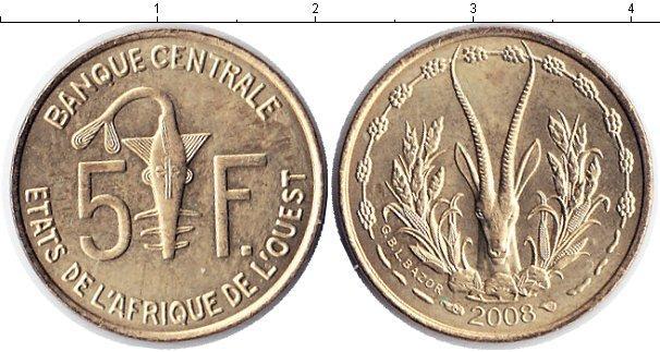 Каталог монет - Западная Африка 5 франков