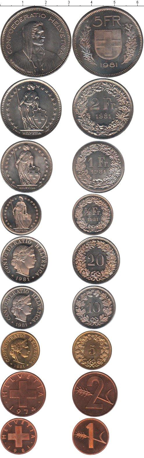 Каталог монет - Швейцария Швейцария 1974-1981