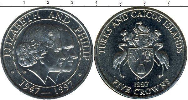 Каталог монет - Теркc и Кайкос Золотой юбилей бракосочетания Елизаветы и Филиппа