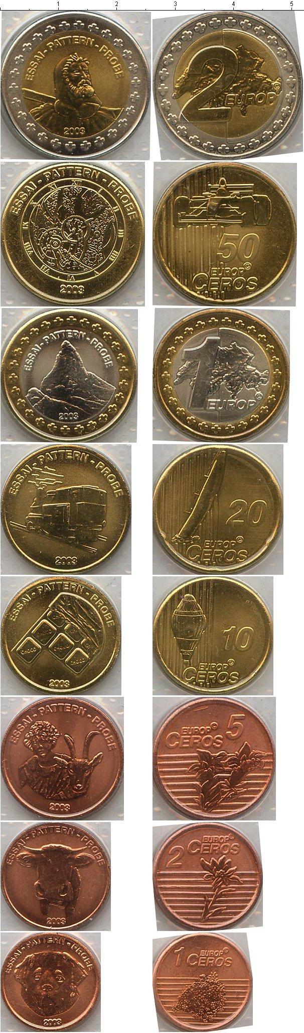Каталог монет - Швейцария Евро-модель