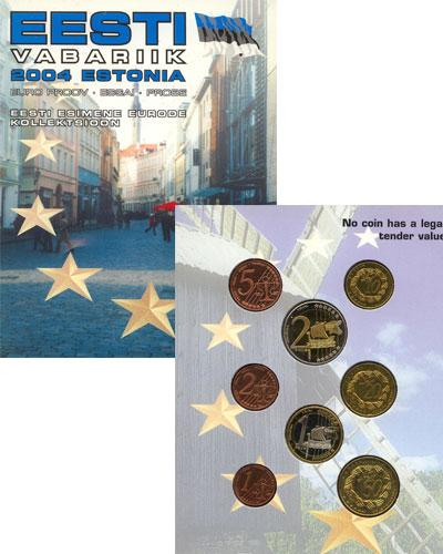 Каталог монет - Эстония Набор монет Евро-модель