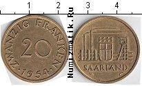 Каталог монет - монета  Саар 20 франков