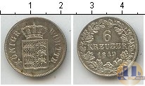 Каталог монет - монета  Вюртемберг 6 крейцеров