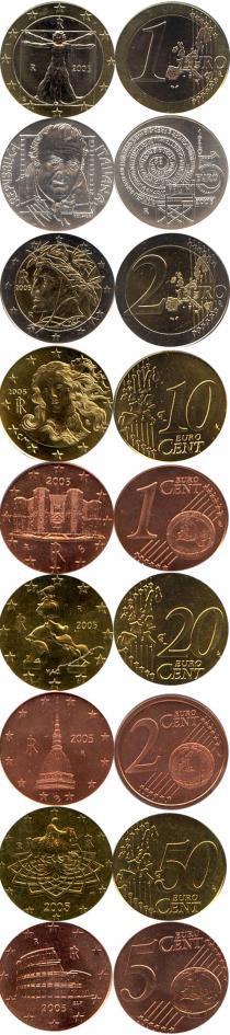 Продать Подарочные монеты Италия Официальный евровыпуск 2005 года 2005