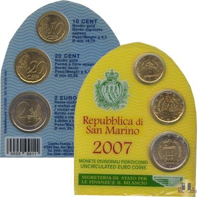 Каталог - подарочный набор  Сан-Марино Набор евромонет 2007 года