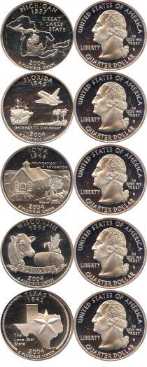 Каталог - подарочный набор  США Серебряные четвертаки 2004 года