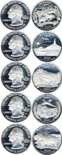 Каталог - подарочный набор  США Серебряные четвертаки 2006 года