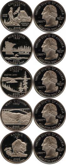 Каталог - подарочный набор  США Серебряные четвертаки 2005 года
