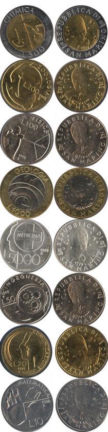 Каталог - подарочный набор  Сан-Марино Науки 1998