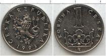 Продать Монеты Чехословакия 1 крона 1993 Сталь покрытая никелем