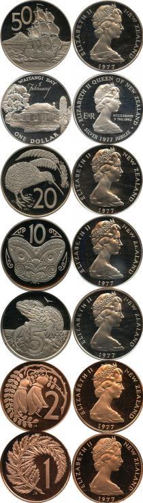 Каталог - подарочный набор  Новая Зеландия Выпуск монет 1977 года, Серебрянный юбилей