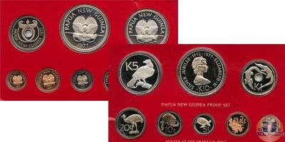 Каталог - подарочный набор  Папуа-Новая Гвинея Выпуск монет 1977 года, Серебрянный юбилей