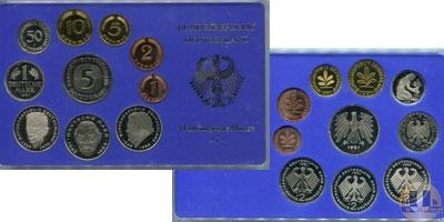 Каталог - подарочный набор  ФРГ Монеты 1989 (чеканка Гамбурга)