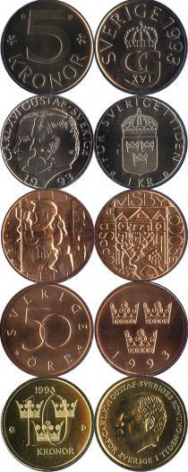 Каталог - подарочный набор  Швеция Набор монет 1993 года