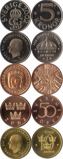 Каталог - подарочный набор  Швеция Набор монет 2002 года