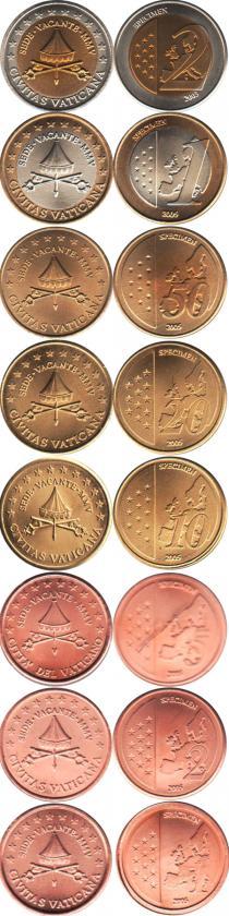 Каталог - подарочный набор  Ватикан Пробник евромонет 2005 года