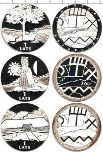 Продать Подарочные монеты Латвия Набор из 1 лата 0 Серебро