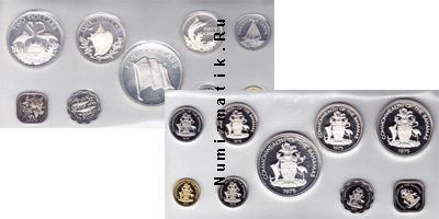 Каталог - подарочный набор  Багамские острова Выпуск монет 1975 года