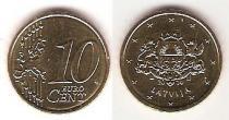 Каталог монет - монета  Латвия 10 евроцентов