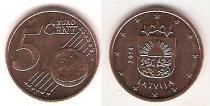 Каталог монет - монета  Латвия 5 евроцентов