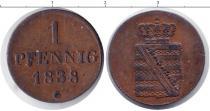 Каталог монет - монета  Саксония 1 пфенниг
