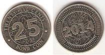Каталог монет - монета  Зимбабве 25 центов