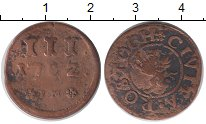 Продать Монеты Росток 3 пфеннига 1702 Медь
