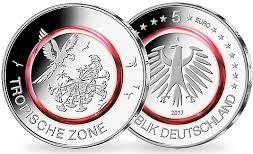 """5 евро Германии 2017 """"Тропическая зона"""". Новинка! Монета из медно-никеля с красным полимер"""