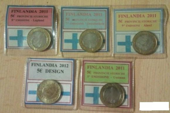 Финляндия, юбилейные 5 евро 2011 -2012, 5 видов: 2011-Lappland 2011-Ostrobothnia 2011-Uusimaa 20