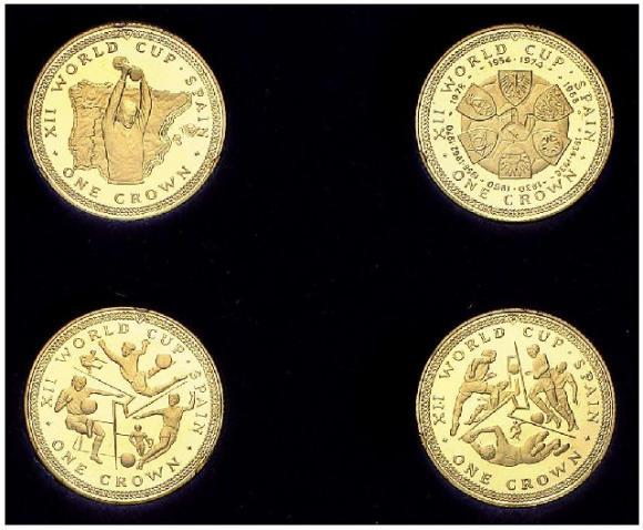 продам набор монет 4х1 крона 1982г о-в МЭН золото, чемпионат мира по футболу, оригинальная коробка,