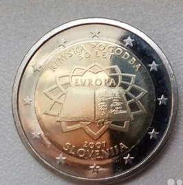 """Редкая монета 2 евро 2007 Словении """"Римский договор"""".UNC из ролла. 1500р. Тираж всего 400."""