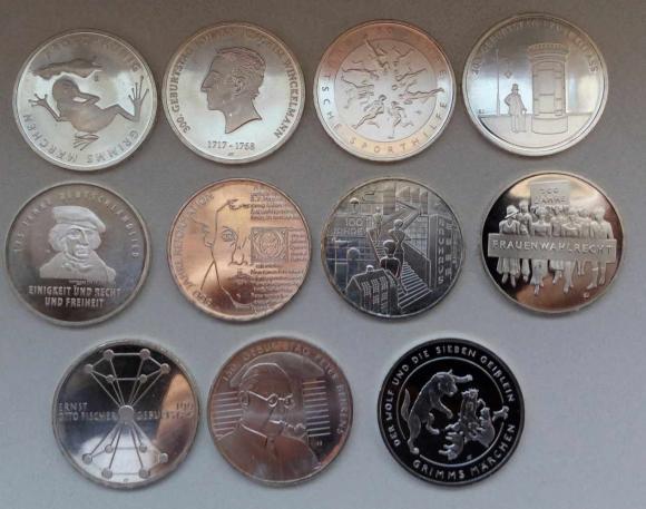 Германия комплект юбилейных 20 евро 2016-2020, серебро 925. 11 штук. 17.500р. При покупке всех и опл
