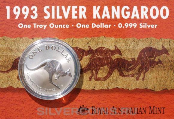 """Серебряная монета 1 доллар 1993 года """"Австралийский Кенгуру"""" из ежегодной серии Королевско"""