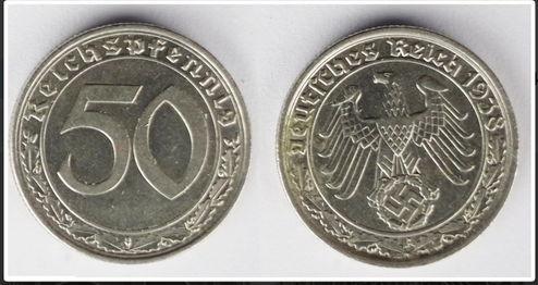 Предлагаю редкую монету времен 3 рейха 50 рейхспфеннигов 1938 года, материал-никель , монетный двор