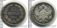 Монета 1881 – 1894 Александр III 25 пенни Серебро 1894