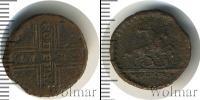Монета 1689 – 1725 Петр I 1 копейка Медь 1725