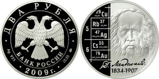 Юбилейная монета  Учёный-энциклопедист Д.И. Менделеев - 175 лет со дня рождения 2 рубля